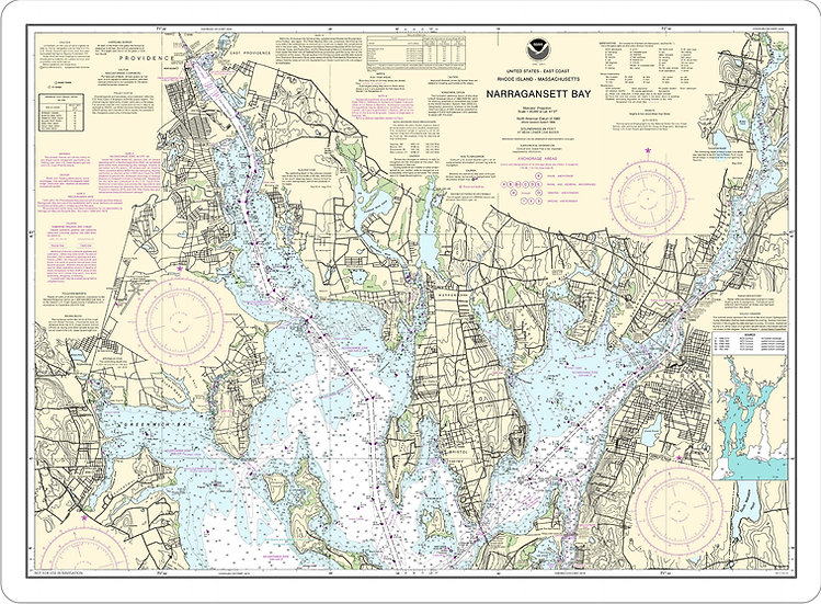 Nautical Chart 13221 'Narragansett Bay' Placemat