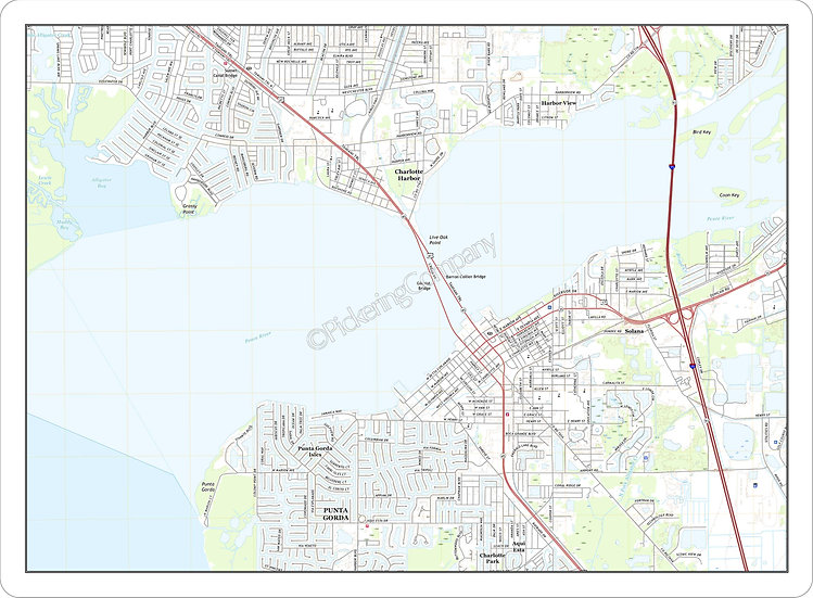 Topographic Map 'Charlotte Harbor, FL' Placemat