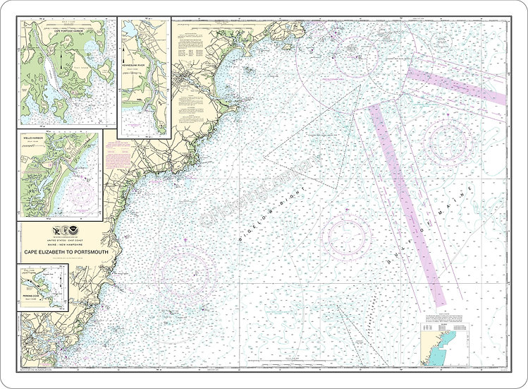 Nautical Chart 13286 Cape Elizabeth to Portsmouth' Placemat