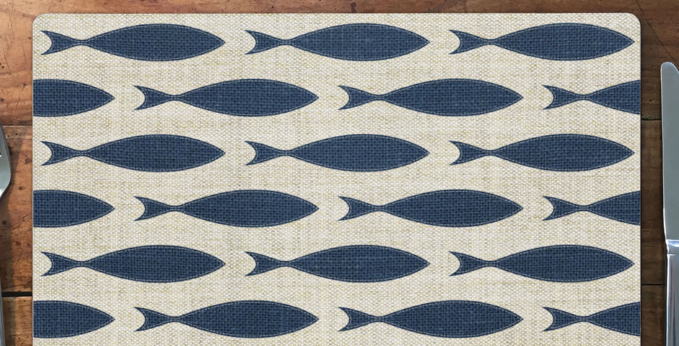 """Pickering Collection hardboard placemats - """"Blue Fish"""""""