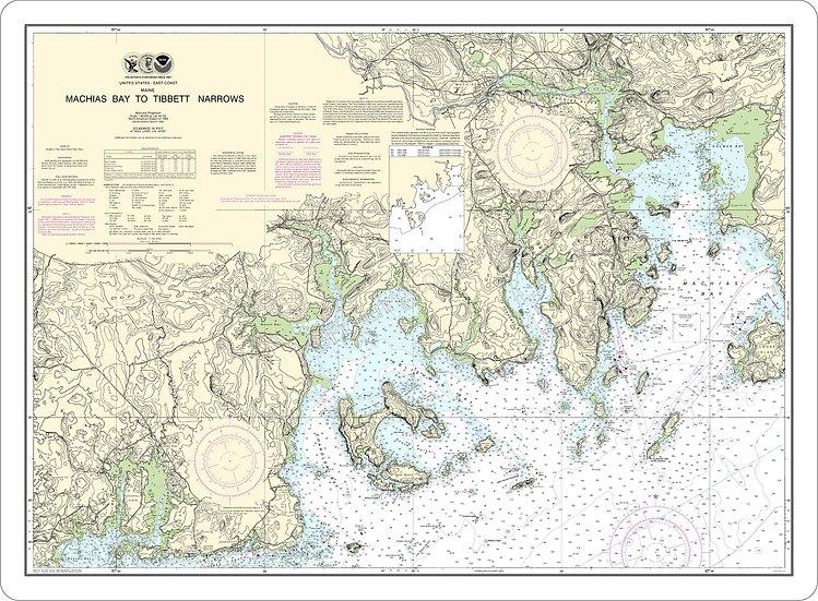 Nautical Chart 13326 'Machias Bay to Tibbett Narrows' Placemat