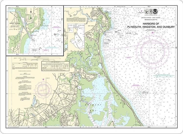 Nautical Chart 13253 'Plymouth, Kingston, Duxbury, Green Harbors' Placemat