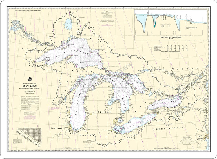 Nautical Chart 14500 'Great Lakes' Placemat