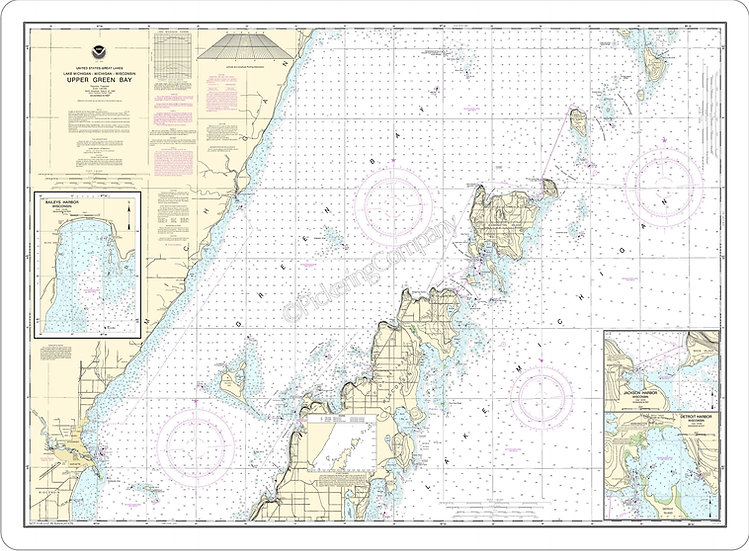 Nautical Chart 14909 'Upper Green Bay, Jackson and Detroit Harbors' Placemat