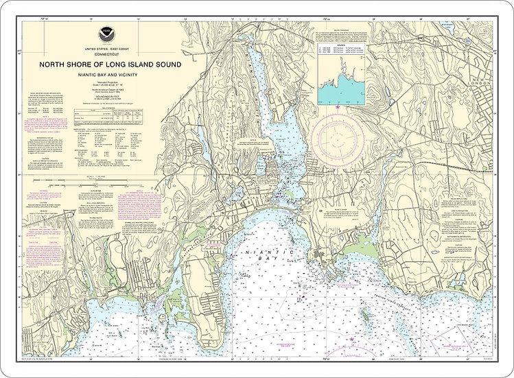 Nautical Chart 13211 'North-Shore-of-Long-Island-Sound-Niantic-Bay' Placemat