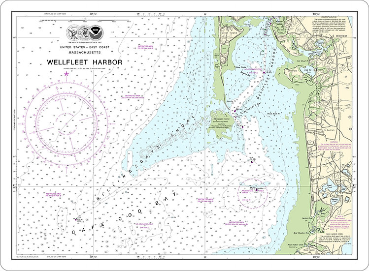 Nautical Chart 13250 'Wellfleet Harbor' Placemat