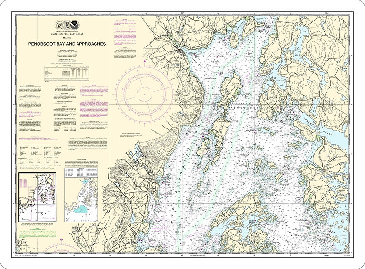 Nautical Chart 13302 'Penobscot Bay and Approaches' Placemat