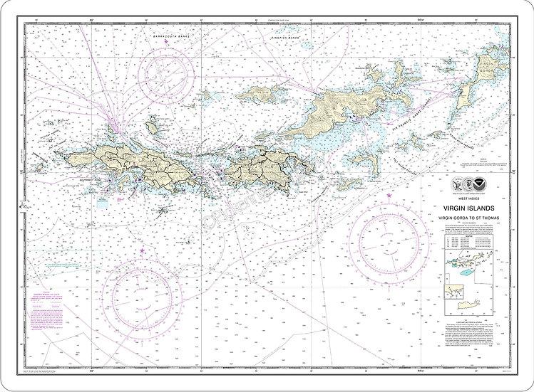 Nautical Chart 25641 'Virgin Islands' Placemat