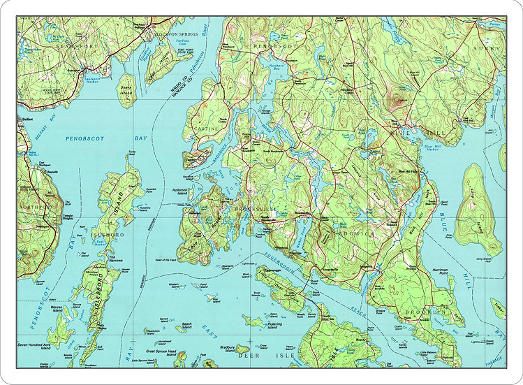 Topographic Map 'Blue Hill Peninsula, Maine' Placemat