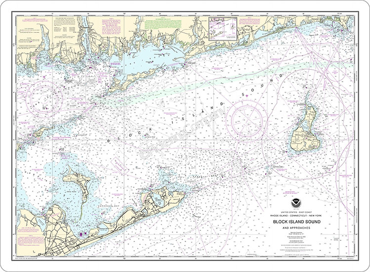 Nautical Chart 13205 'Block Island Sound & Approaches' Placemat