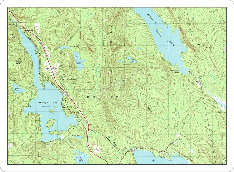 Topographic Map 'Green Lake, Dedham, Maine' Placemat