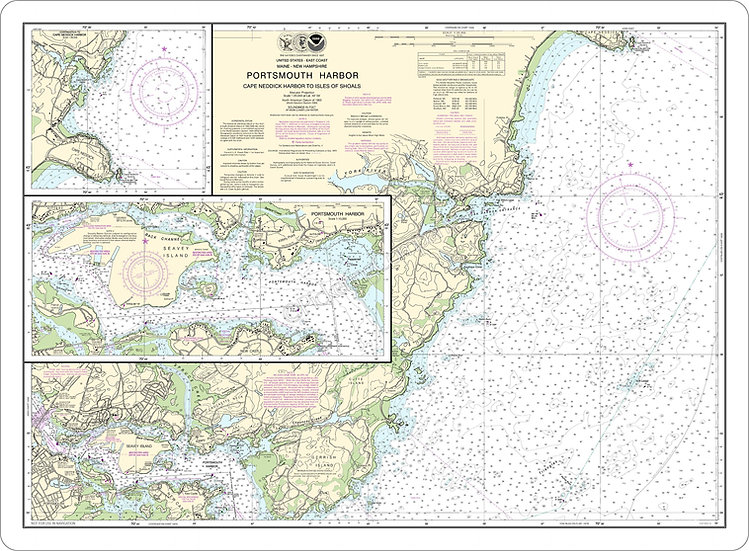 Nautical Chart 13283 'Portsmouth Hbr, Cape Neddick Hbr, Isl. of Shoals' Placemat