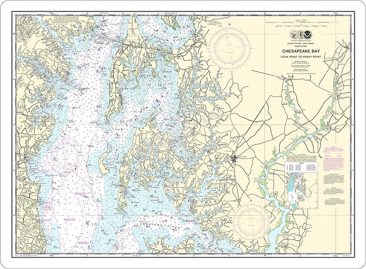 Nautical Chart 12263 'Chesapeake Bay-Cove Point to Sandy Point' Placemat