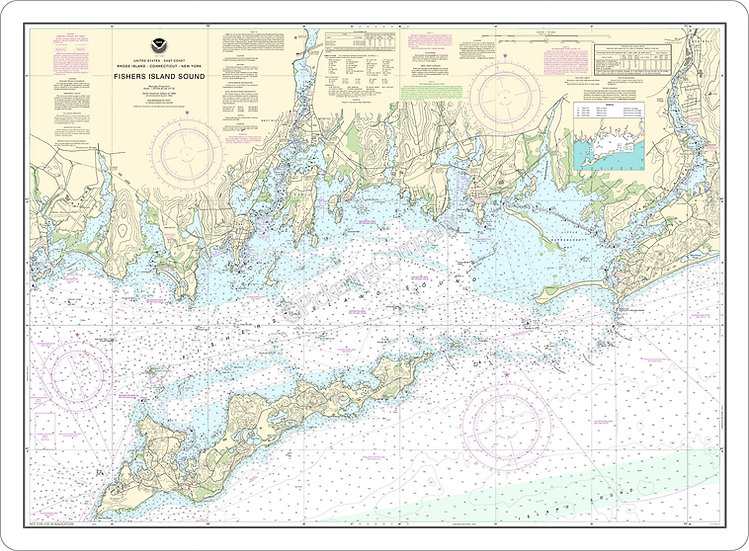 Nautical Chart 13214 'Fishers Island Sound' Placemat