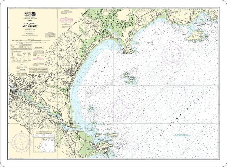 Nautical Chart 13287 'Saco Bay and Vicinity' Placemat