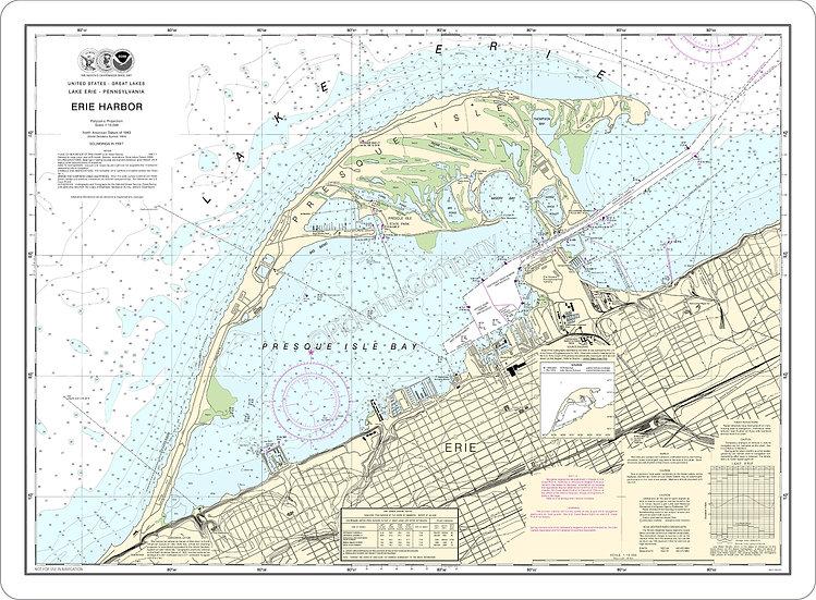 Nautical Chart 14835 'Erie Harbor' Placemat