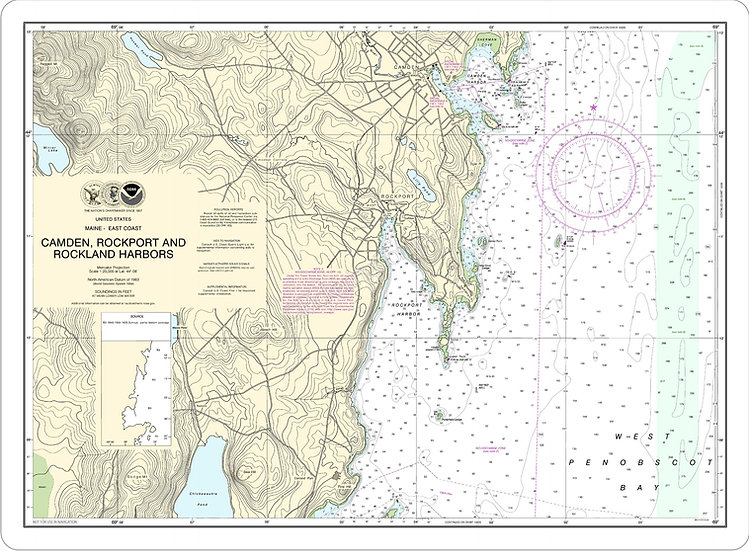Nautical Chart 13307 'Camden, Rockport and Rockland Harbors' Placemat