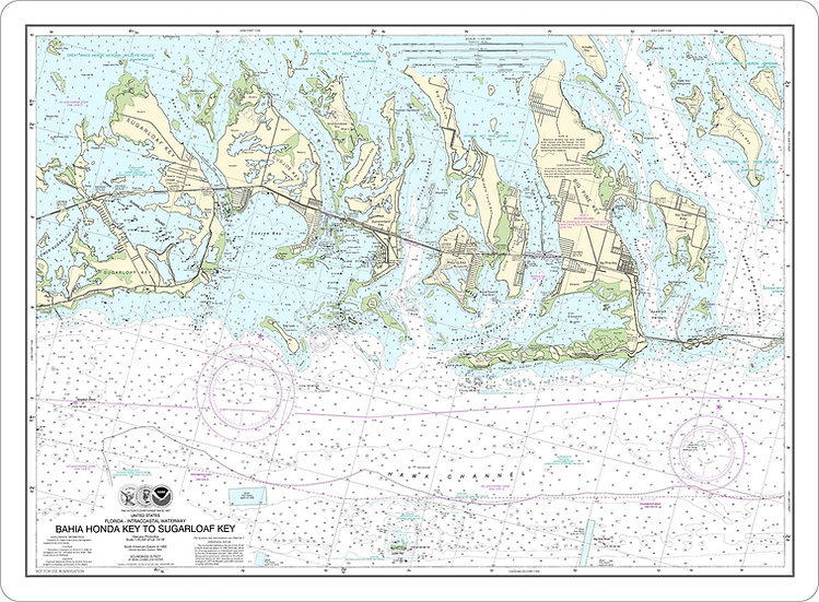 Nautical Chart 11445 'Bahia Honda Key to Sugarloaf Key' Placemat