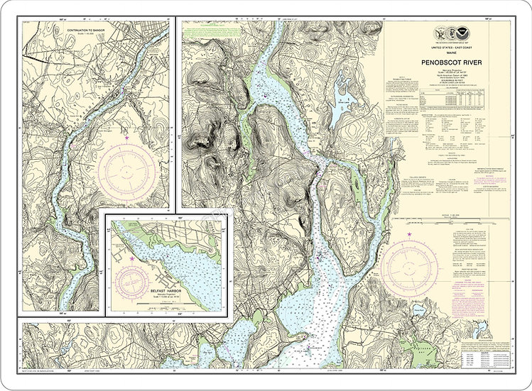 Nautical Chart 13309 'Penobscot River' Placemat