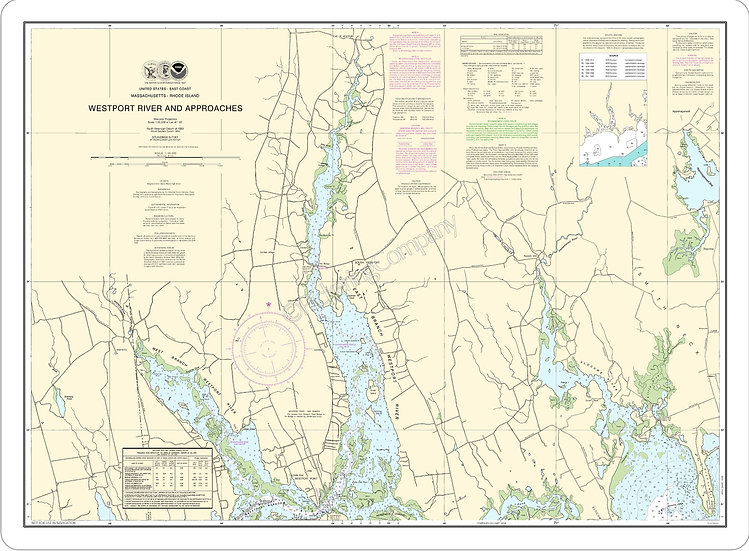 Nautical Chart 13228 'Westport River and Approaches' Placemat