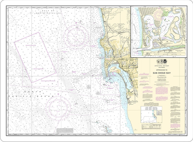 Nautical Chart 18765 'San Diego Bay' Placemat