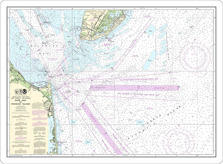 Nautical Chart 12214 'Cape May to Fenwick Island' Placemat