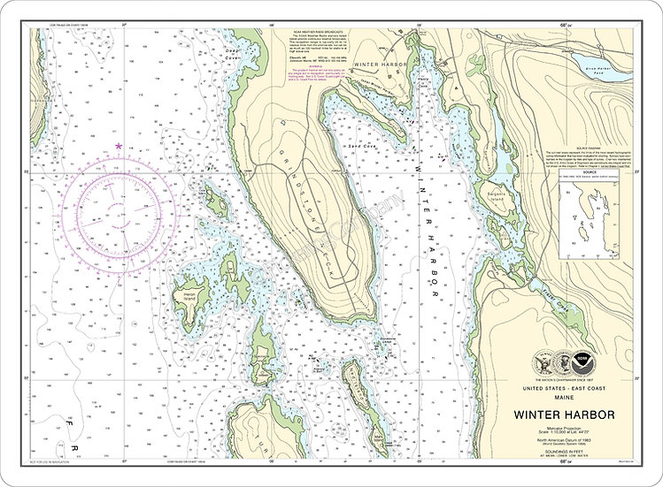Nautical Chart 13322 'Winter Harbor' Placemat