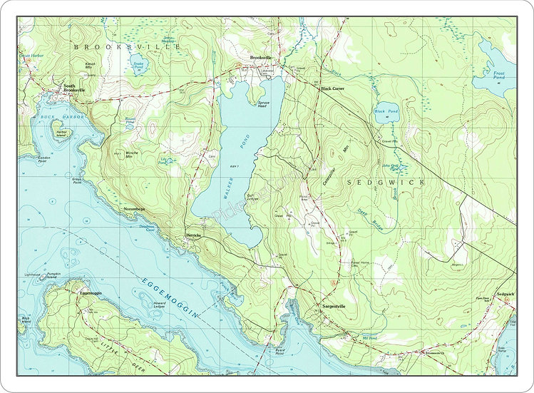 Topographic Map 'Walker's Pond, Sargentville, Maine' Placemat