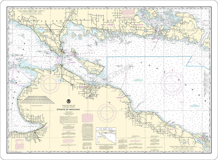 Nautical Chart 14880 'Straits of Mackinac' Placemat