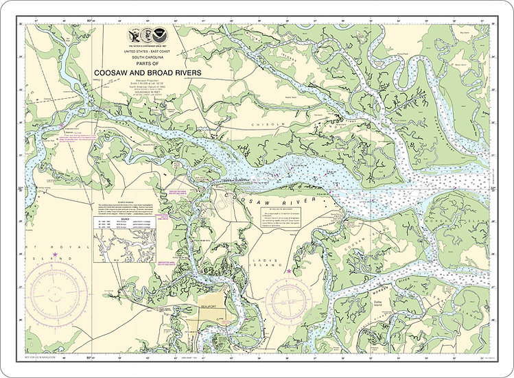 Nautical Chart 11519 'Coosaw and Broad Rivers' Placemat