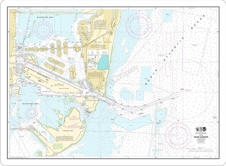 Nautical Chart 11468 'Miami Harbor' Placemat