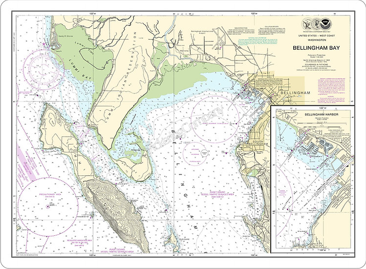 Nautical Chart 18424 'Bellingham Bay' Placemat