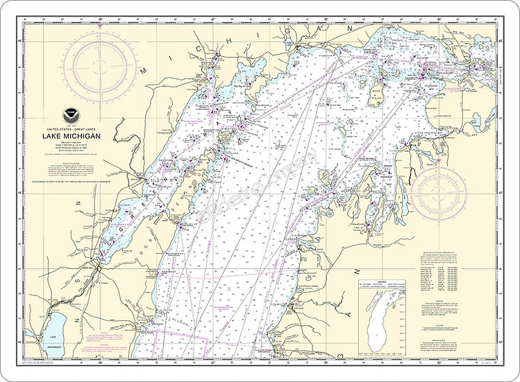Nautical Chart 14901 'Lake Michigan' Placemats