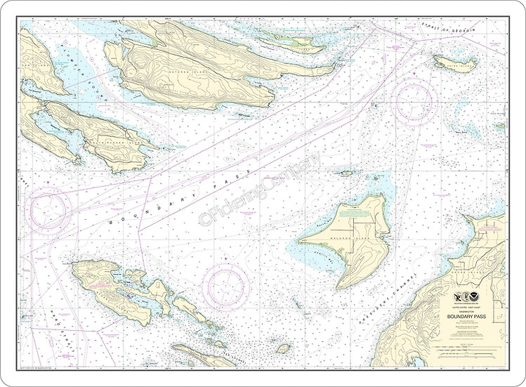 Nautical Chart 18432 'Boundary Pass' Placemat