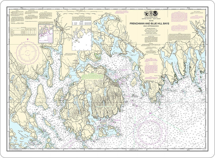 Nautical Chart 13312 'Frenchman & Blue Hill Bays' Placemat
