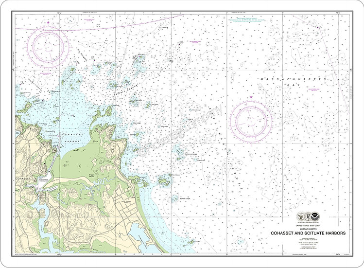Nautical Chart 13269-A 'Cohasset and Scituate Harbors' Placemats - Set of 4