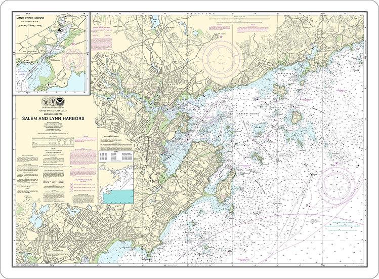Nautical Chart 13275 'Salem and Lynn Harbors' Placemat