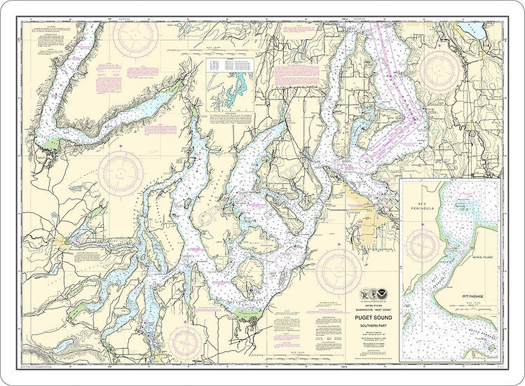 Nautical Chart 18448 'Puget Sound - Southern Part' Placemat