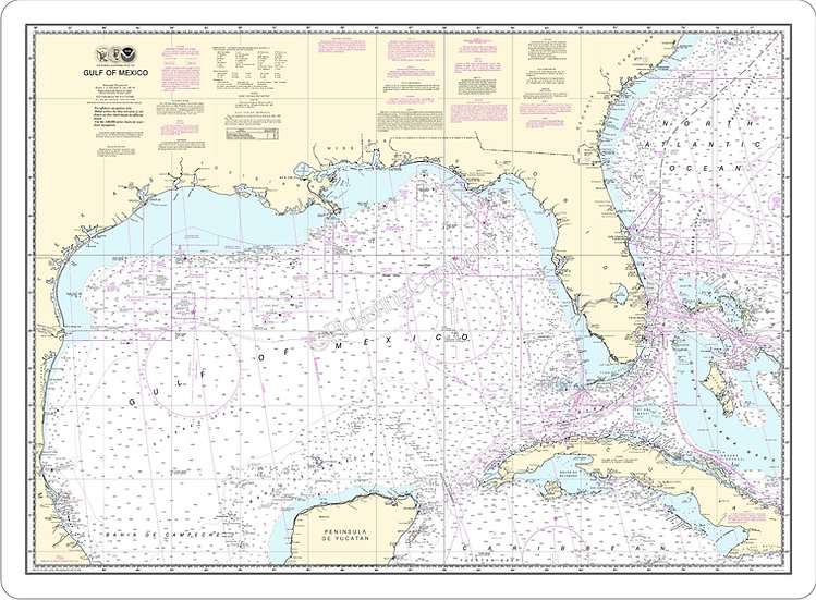 Nautical Chart 411 'Gulf of Mexico' Placemat