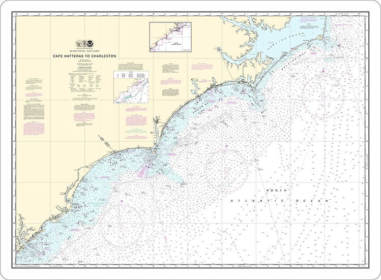 Nautical Chart 11520 'Cape Hatteras to Charleston' Placemat
