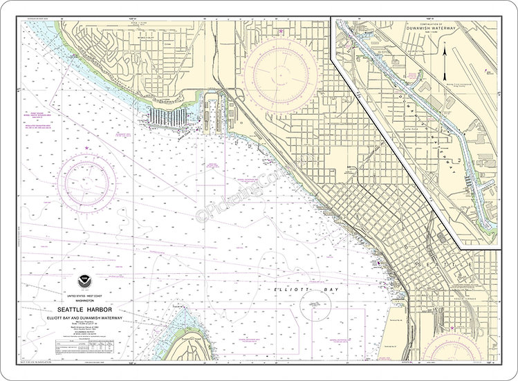 Nautical Chart 18450 'Seattle Harbor' Placemat