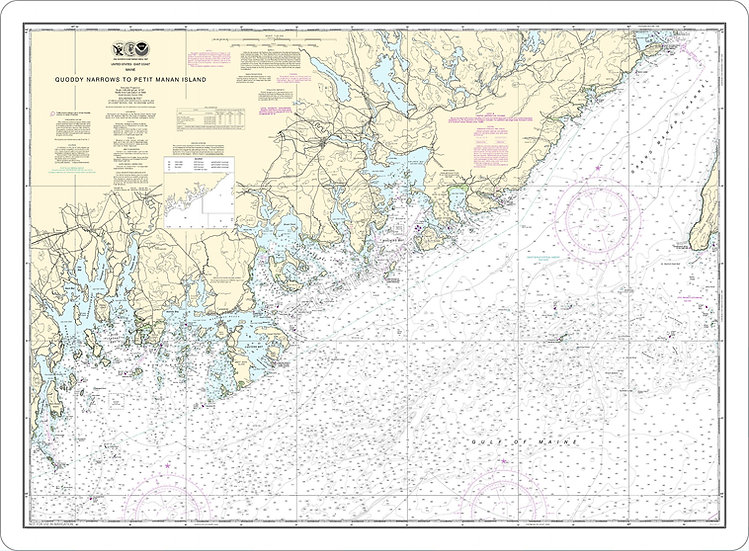 Nautical Chart 13325 'Quoddy Narrows to Petit Manan Island' Placemat