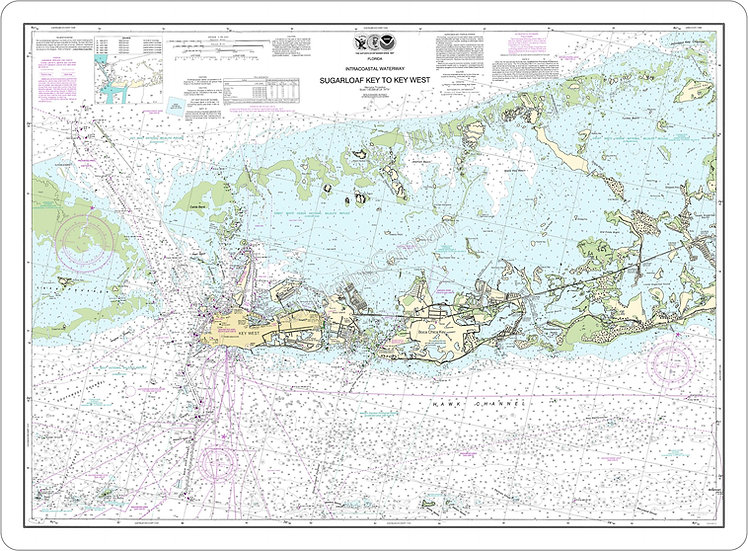 Nautical Chart 11446 'Sugarloaf Key to Key West' Placemat