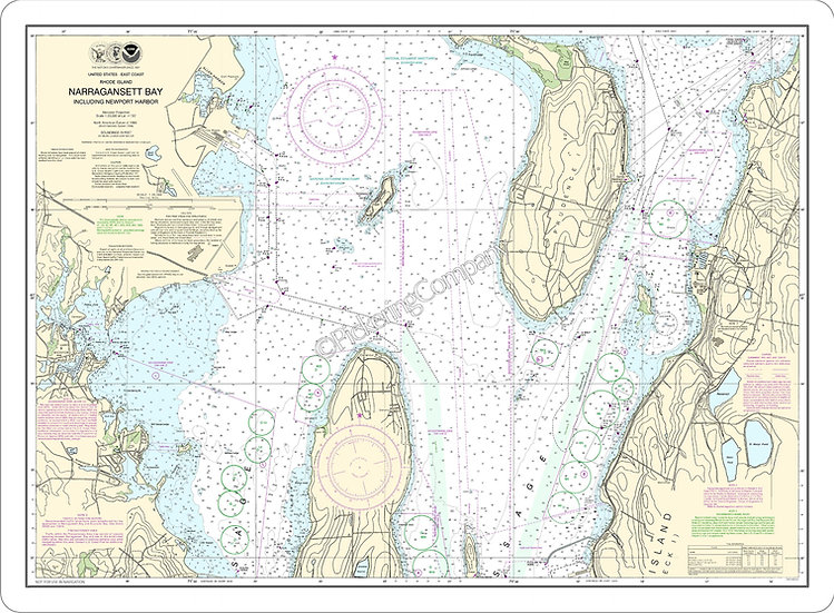 Nautical Chart 13223 'Narragansett Bay Including Newport Harbor' Placemat