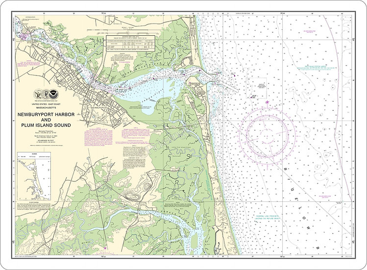 Nautical Chart 13282 'Newburyport Harbor and Plum Island Sound' Placemat