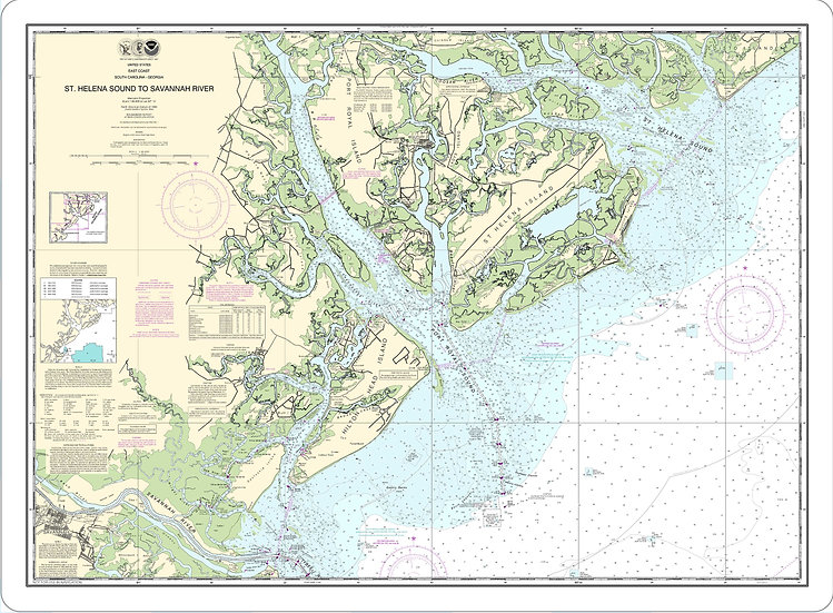 Nautical Chart 11513 'St Helena Sound to Savannah River' Placemat