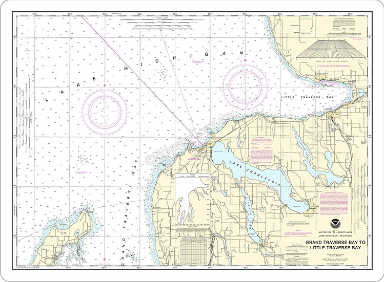 Nautical Chart 14913 'Grand Traverse Bay to Little Traverse Bay' Placemats