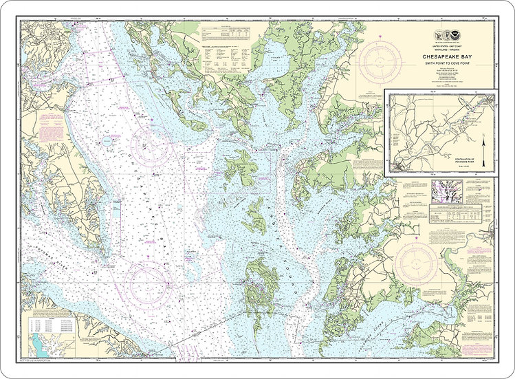 Nautical Chart 12230 'Chesapeake Bay-Smith Point to Cove Point' Placemat