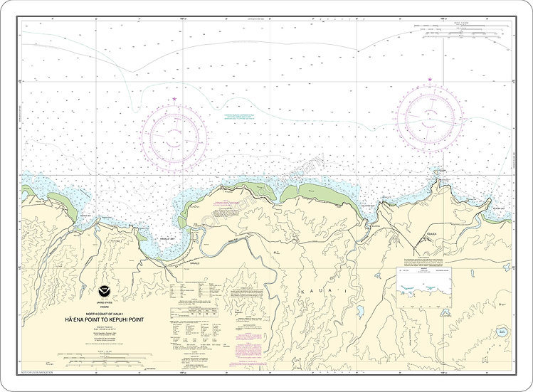 Nautical Chart 19385 'No Coast of Kauai Ha'ena Pt to Kepuhi Pt' Placemat