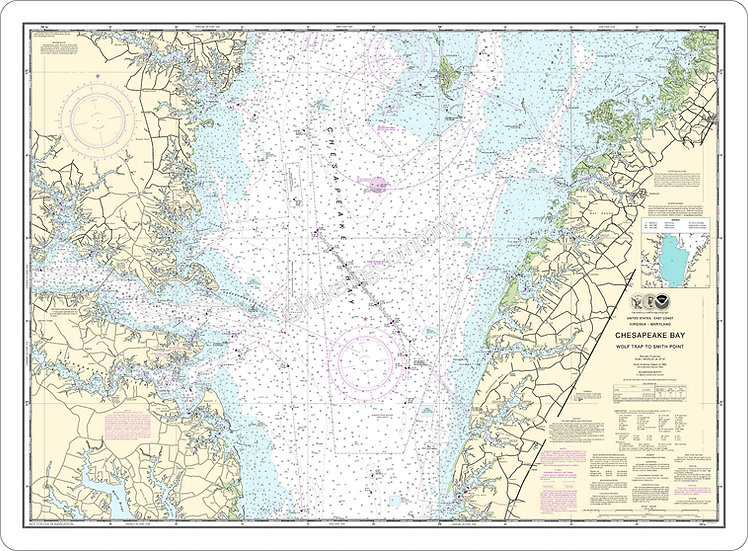 Nautical Chart 12225 'Chesapeake Bay-Wolf Trap to Smith Point' Placemat